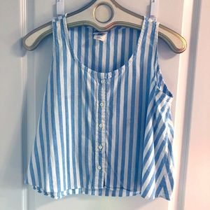 90s cotton blue white striped crop top vintage M/L